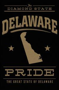 Delaware State Pride - Gold on Black by Lantern Press