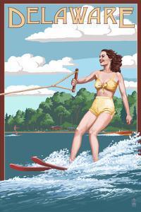 Delaware - Water Skier and Lake by Lantern Press