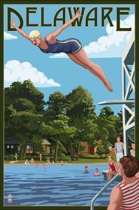 Delaware - Woman Diving and Lake by Lantern Press