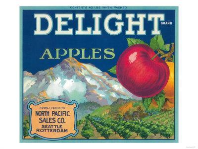 Seattle Washington Mt Rainier America/'s Delight Apple Fruit Crate Label Print