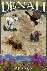 Denali, Alaska - Topographical Map by Lantern Press
