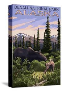 Denali National Park, Alaska - Moose and Calf by Lantern Press
