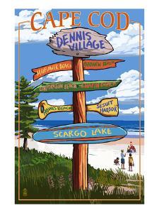 Dennis Village, Cape Cod, Massachusetts - Sign Destinations by Lantern Press