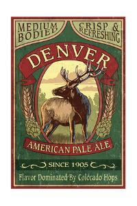 Denver, Colorado - Elk Head Pale Ale Vintage Sign by Lantern Press