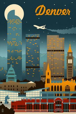 Denver, Colorado - Retro Skyline by Lantern Press