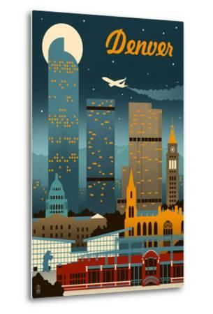 Denver, Colorado - Retro Skyline