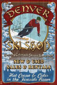 Denver, Colorado - Ski Shop Vintage Sign by Lantern Press