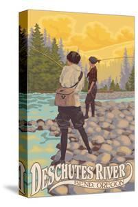 Deschutes River - Bend, Oregon - Women Fishing by Lantern Press