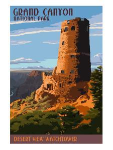 Desert View Watchtower - Grand Canyon by Lantern Press