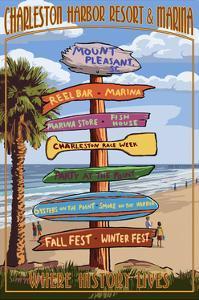 Destination Sign - Charleston Harbor Resort by Lantern Press