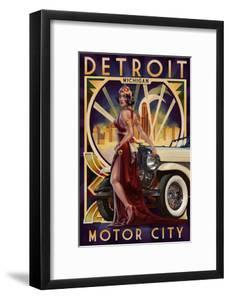 Detroit, Michigan - Deco Woman and Car by Lantern Press