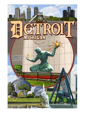 Detroit, Michigan - Montage Scenes by Lantern Press