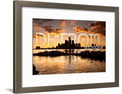 Detroit, Michigan - Orange Sky and Skyline