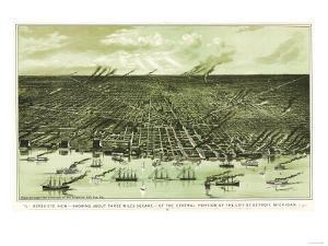 Detroit, Michigan - Panoramic Map by Lantern Press