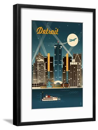 Detroit, Michigan - Retro Skyline