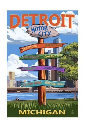 Detroit, Michigan - Sign Post by Lantern Press
