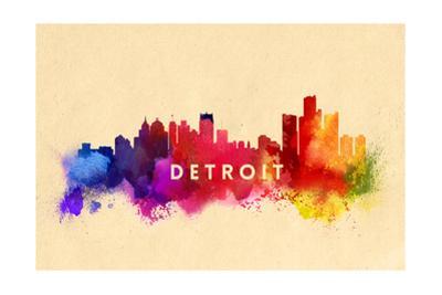 Detroit, Michigan - Skyline Abstract by Lantern Press