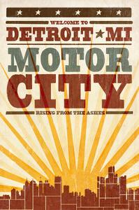 Detroit, Michigan - Skyline and Sunburst Screenprint Style by Lantern Press