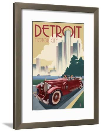 Detroit, Michigan - Vintage Car and Skyline