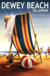 Dewey Beach, Delaware - Beach Chair and Ball by Lantern Press