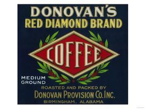 Donovan's Coffee Label - Birmingham, AL by Lantern Press