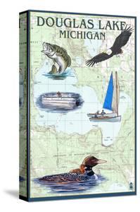 Douglas Lake, Michigan - Nautical Chart by Lantern Press