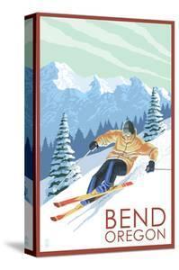 Downhhill Snow Skier - Bend, Oregon by Lantern Press