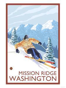 Downhhill Snow Skier, Mission Ridge, Washington by Lantern Press