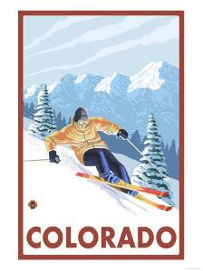 Downhill Snow Skier - Colorado by Lantern Press