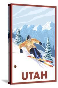 Downhill Snow Skier - Utah by Lantern Press