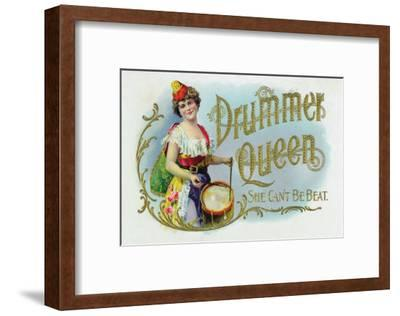 Drummer Queen Brand Cigar Inner Box Label, She Can't Be Beat