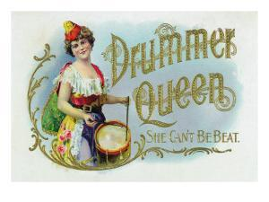 Drummer Queen Brand Cigar Inner Box Label, She Can't Be Beat by Lantern Press