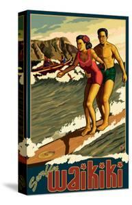 Duke Kahanamoku Surfing Scene, Waikiki, Hawaii by Lantern Press
