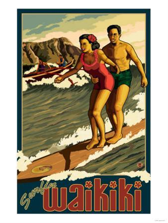 Duke Kahanamoku Surfing Scene, Waikiki, Hawaii by Lantern Press