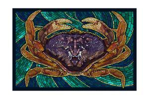 Dungeness Crab - Paper Mosaic by Lantern Press