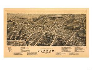 Durham, North Carolina - Panoramic Map by Lantern Press