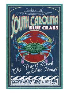 Edisto Beach, South Carolina - Blue Crabs by Lantern Press