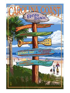 Edisto Beach, South Carolina - Sign Destinations by Lantern Press