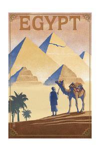 Egypt - Pyramids - Lithograph Style by Lantern Press