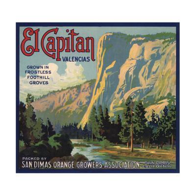 El Capitan Brand - San Dimas, California - Citrus Crate Label
