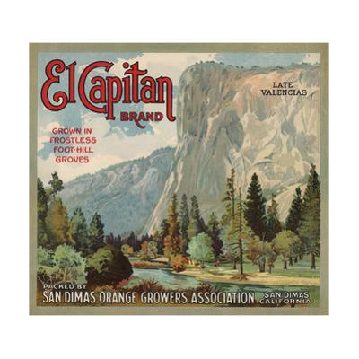 El Captain Brand - San Dimas, California - Citrus Crate Label