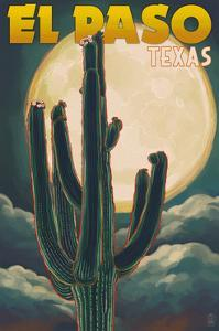 El Paso, Texas - Cactus and Full Moon by Lantern Press