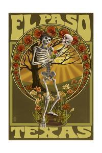 El Paso, Texas - Day of the Dead - Skeleton Holding Sugar Skull by Lantern Press