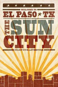 El Paso, Texas - Skyline and Sunburst Screenprint Style by Lantern Press