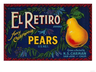 El Retiro Pear Crate Label - San Jose, CA by Lantern Press