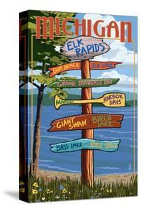 Elk Rapids, Michigan - Sign Destinations by Lantern Press