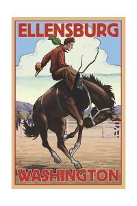 Ellensburg, Washington - Cowboy and Bronco Scene by Lantern Press