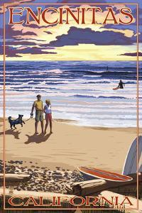 Encinitas, California - Beach and Sunset by Lantern Press