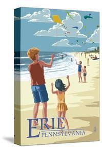 Erie, Pennsylvania - Kite Flyers by Lantern Press