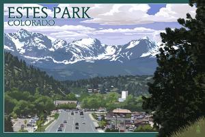 Estes Park, Colorado - Town Scene by Lantern Press